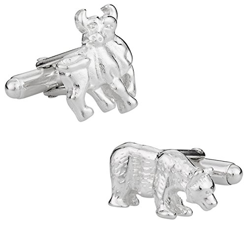 Cuff-Daddy Solid 925 Sterling Silver Bull and Bear Cufflinks with Presentation Box