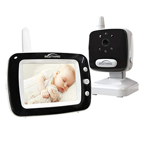 Aurola Baby Monitor with 3.5' LCD Screen, Digital Camera, Infrared Night Vision, Two-Way Talk Back, Lullabies, Long Range, Temperature Monitoring, and High Capacity Battery, Black