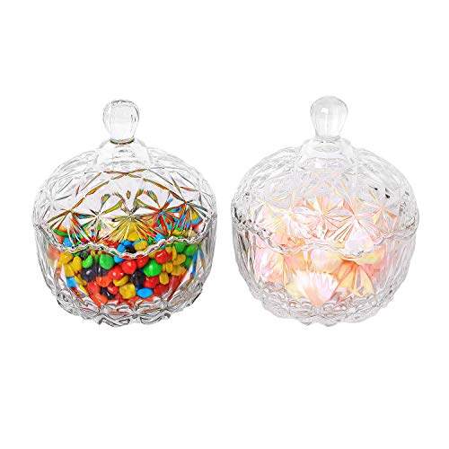 ComSaf Glass Candy Dish with Lid Decorative Candy Bowl, Crystal Covered Storage Jar, Set of 2(Diameter:4.1