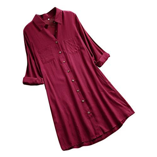 Autunno retrò taschino a e Large Abito a Gusspower Size quadri lunghe maniche Camicia casual Camicia da Vino rosso Camicia elegante Donna inverno xwSpfw