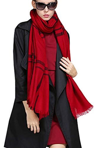 (Fashion Silk Women's Wool Scarf 100% Pure Lambswool Reversible Striped Shawl Wrap Red)