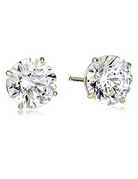 10k Gold Swarovski Zirconia Stud Earrings (3 cttw)