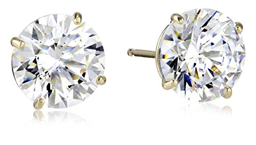 - 10K Yellow Gold Stud Earring set with Round Cut Swarovski Zirconia (3 cttw)