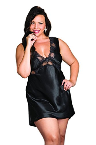 Shirley of Hollywood Classic Plus Size Charmeuse and Lace Sparkling Scalloped Chemise Lingerie (Hollywood Charmeuse Chemise)