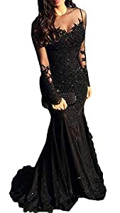 Illusions Long Sleeves Beaded Satin Mermaid Prom Dress Lace Evening Formal Gown