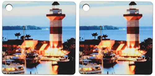 3dRose Harbour Town Lighthouse at Hilton Head Island at Dusk - Key Chains, 2.25 x 4.5 inches, set of 2 - Harbour Town Shops At