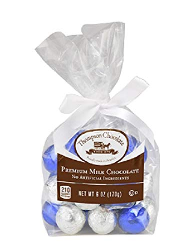 Thompson Milk Chocolate Blue & Silver Foiled Balls, 6 Oz Gift Bag made in New England