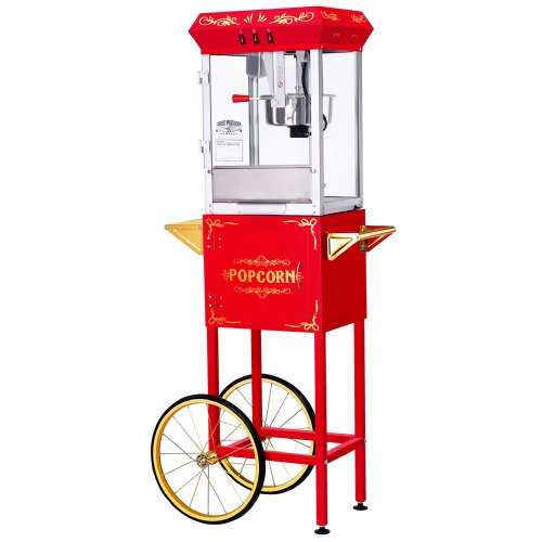 (Great Northern Popcorn Red 8 Ounce All Star GNP-800 Classic Style Popcorn Machine with Cart)
