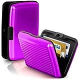 CAMTOA® Etanche Porte Carte Crédit poche Boîte Aluminium Portefeuille Rigide Security violet