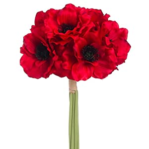 "12"" Anemone Silk Flower Bouquet -Red (Pack of 12) 53"