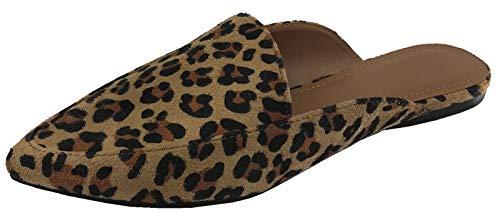 Womens Backless Slip On Loafer Flats Mules Low Heel Dress Slipper Shoes, Leopard, 10