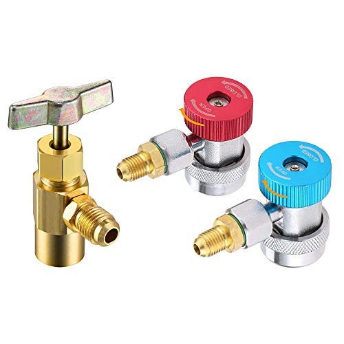 CoCsmart R134A Adapters Quick Couplers, with R134A Can Tap (All Adjustable and Works on Self-Sealing and Single Puncture Cans)