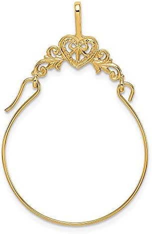 14k Yellow Gold Filigree Heart Pendant Charm Necklace Holder Fine Jewelry Gifts For Women For Her