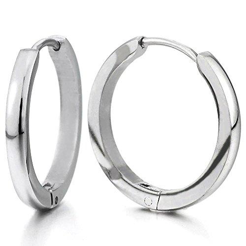 Stainless Huggie Hinged Earrings Unisex