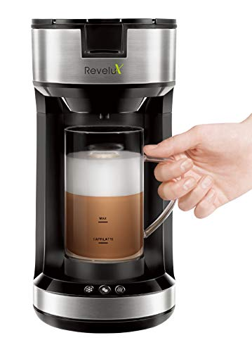Revelux Single Serve Coffee Maker with Milk Frother, Brew and Froth Coffee Maker for Latte, Cappuccino, Single Cup Coffee Maker Compatible with K-Cup Pods and Coffee Grounds, 20 oz Frothing Mug Included