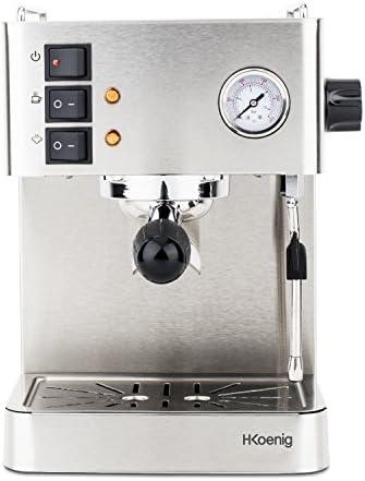 H.Koenig EXP530 Machine Expresso Professionnelle en acier inoxydable 22,5 x 28 x 32,5 cm