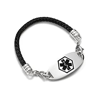 BAIYI Interchangeable Medical Alert ID Bracelets for Women Stainless Steel Tag With Black Leather Rope,6-8in