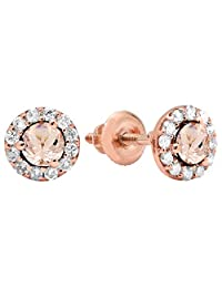 14K Rose Gold Ladies Cluster Halo Style Stud Earrings