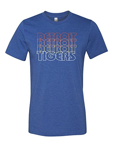 Tiger Detroit Retro 3001 Premium Crewneck T-Shirt Slogan Humorous Heather Royal -
