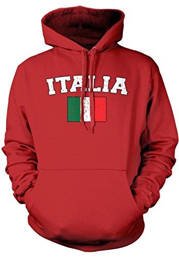 Amdesco Men's Italian Flag, Flag of Italy, Love Italia Hooded Sweatshirt, Red XL