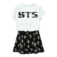 BTS Suga Jin Jimin Jung Kook camiseta estampada + falda floral traje de dos piezas S