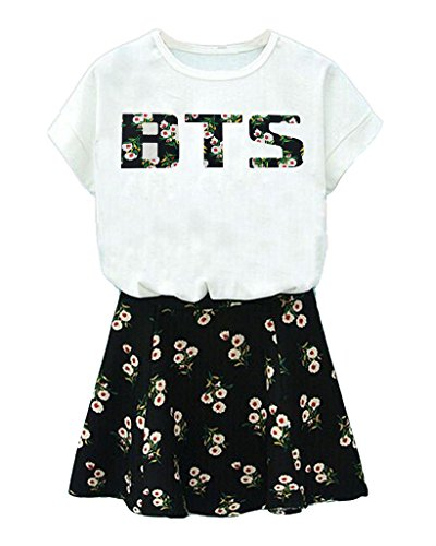 BTS Suga Jin Jimin Jung Kook Printed T-Shirt + Floral Skirt Two Piece Suit S White
