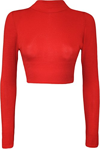 (Womens Turtle Neck Crop Long Sleeve Plain Top-Thin Fabric RED-S/M)