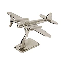 IMAX 60067 Up in the Air Plane Statuary - Metal Airplane Figurine Statue - Vintage Aviation Decor Accessories