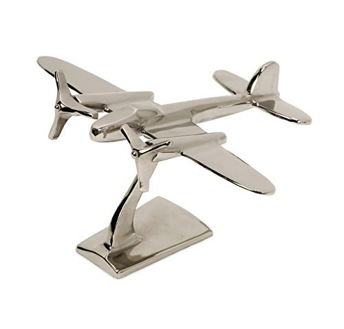 IMAX 60067 Up in the Air Plane Statuary – Metal Airplane Figurine Statue – Vintage Aviation Decor Accessories