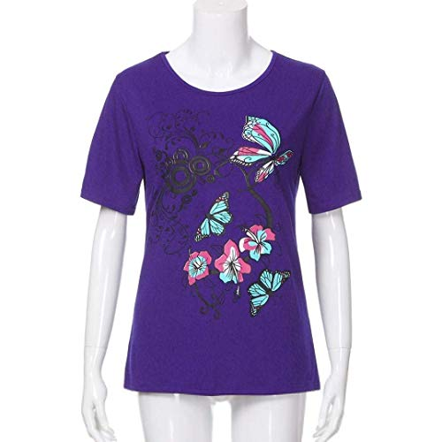 Shirt Et Casual Lilas Col Pullover Costume Manches Mode Chic Tshirt Courtes Elgante Branch Top Rond Fleurs Impression Femme Fit Slim Modle T Shirt Papillon pqn5H
