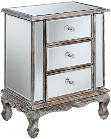 Pemberly Row 3 Drawer Mirrored End Table