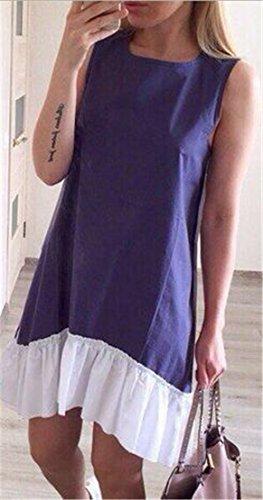 Jaycargogo Femmes Encolure Ras Du Cou Lâche Patchwork Sans Manches En Forme D'une Robe De Ligne Bleu Foncé