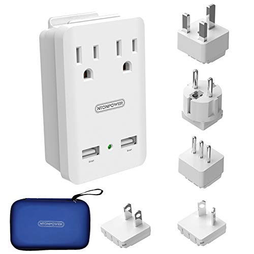 World Travel Adapter Kit - NTONPOWER International Power Adapter, 2 USB Ports 2 Outlets, 2000W Universal Cruise Power Strip with Organizer Case for Europe, Italy, UK, China, Australia, Japan (White)