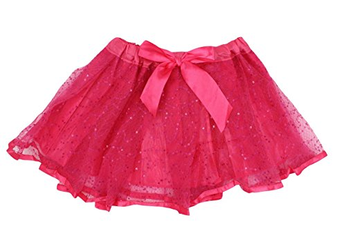 Girls Ballet Dance Princess Dress up Sequin Spangle Tutu Skirt with Lining Fuchsia ()