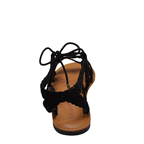 Bamboo Seashore 37M Womens Braided Lace Up Sandals Black r0GNh