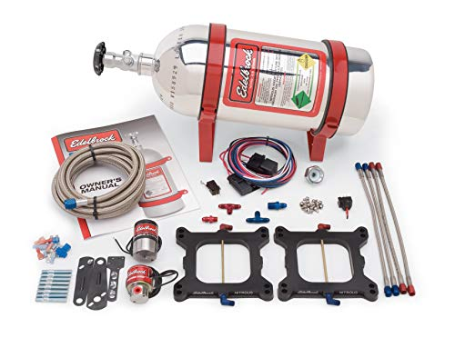 Edelbrock 70091 Performer RPM Nitrous Systems For Dual-Quad 4150 Flange For Carb V8s 100-250 HP Single Stage Polished Aluminum Coated Bottle Performer RPM Nitrous Systems