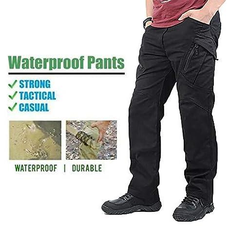 Green Fullein Hombre a Prueba de Agua Work Cargo Pantalones Largos con Bolsillos Suletas Pantalones 2XL