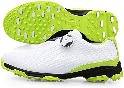 メンズゴルフシューズ、通気性ノンスリップネイルズ回転スニーカー (Color : Green, Size : 40EU)
