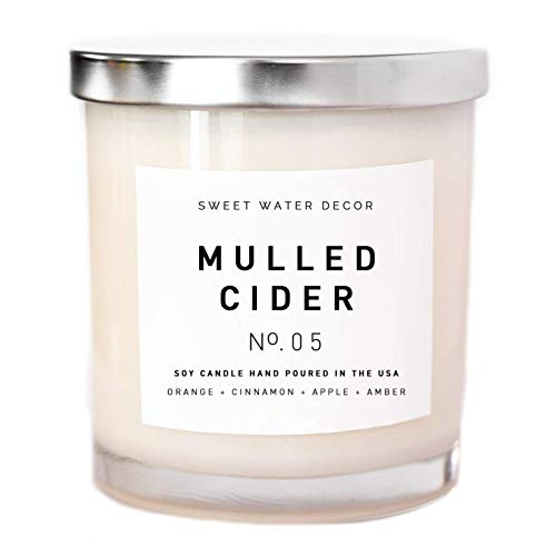 Mulled Cider Natural Soy Wax Candle White Jar Rustic Decor Orange Cedarwood Lemon Cinnamon Cranberry Apple Essential Oils Fall Winter Christmas Scent Lead Free Cotton Wick Made in USA Bathroom ()