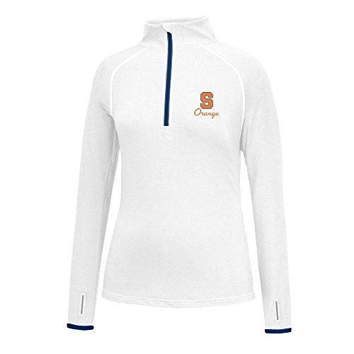 (NCAA Syracuse Orange Women's Script Logo Power Through Poly 1/2 Zip Jacket, Small, White/Navy)