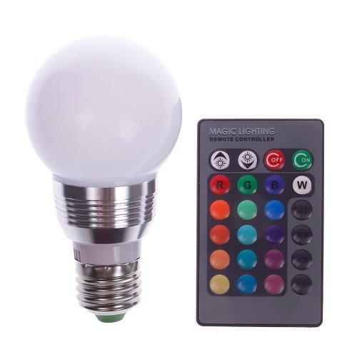 E27 5W RGB LED Magic Light Bulb Lamp + IR Remote Control 16