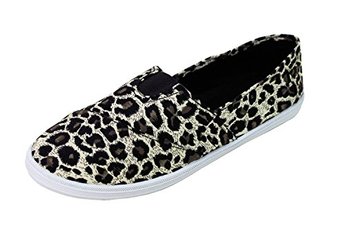 Women's Canvas Shoes Slip Ons Flats Casual Sneakers Kicks Footwear Ballerina Tennis Colors (9, Leopard) (Leopard Tennis Shoes For Women)