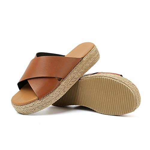 - SNIDEL Espadrilles Wedges for Women Strappy Leather Sandals Platform Slides Open Toe Slippers Summer Slip on Shoes Brown 9 B (M) US