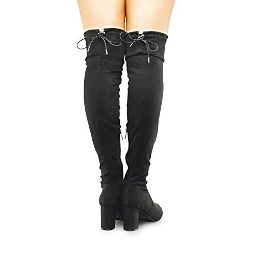 Premier Standard Damenmode Bequeme Vegane Wildleder Block Heel Slip On Oberschenkel Hohe Overknee Stiefel Premium Schwarz Su