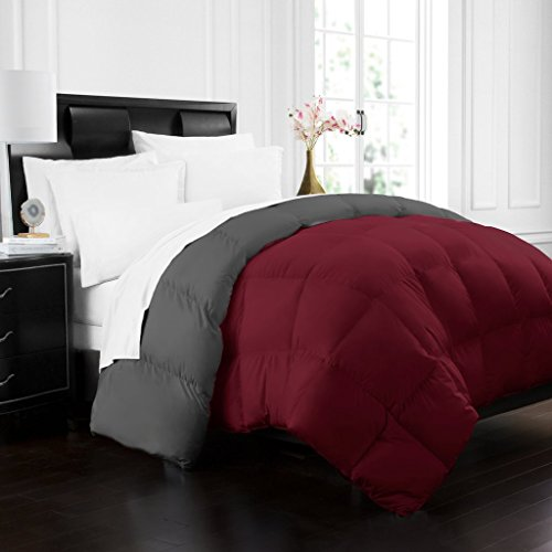 Beckham Hotel Collection 1700 Series Luxury Goose Down Alternative Reversible Comforter - Premium Hypoallergenic - All Season - Duvet - Full/Queen - Burgundy/Grey