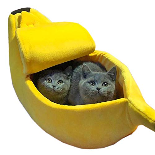 BILIKILI Cat Play House Small Pet Bed Banana Sofa Couch Fluffy Nest Warm Kitty Sack Box Kennel Cute Home Sleeping Bag (S(15.75