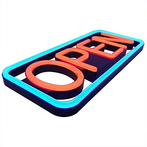 Remote Controlled LED Neon Open Sign - Rectangular Shape, 9x22
