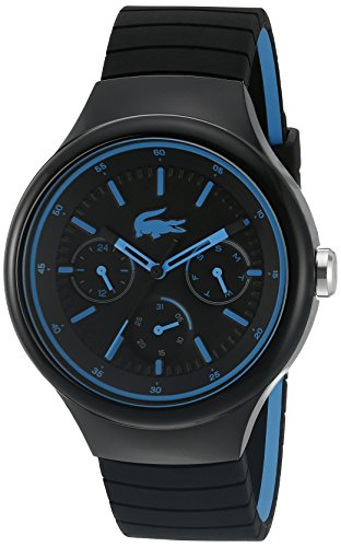 Lacoste Men's 'Borneo' Quartz Resin and Silicone Casual Watch, Color:Black (Model: 2010869)