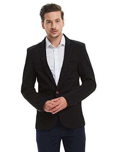 (Pishon Men's Slim Fit Suits Casual One Button Flap Pockets Solid Blazer Jacket, Black, Tagsize3XL=USsizeM)