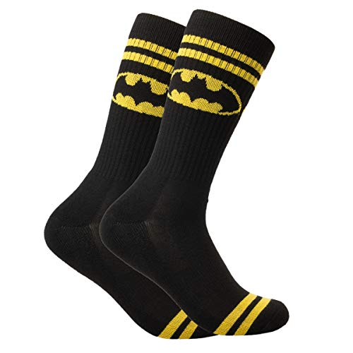 Bioworld DC Superhero Crew Socks Lootwear Fits Men's Shoe 8-12 Colorful Characters Comic Book (Batman Sock Women)